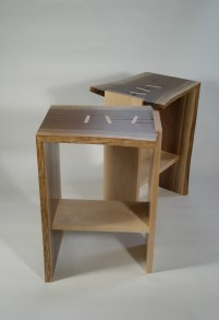 End tables, maple & walnut