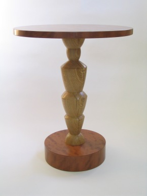 Caryatid table, white oak & bubinga