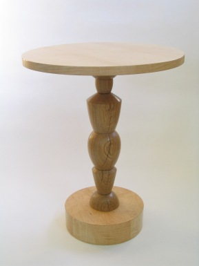 Caryatid table, white oak & curly maple