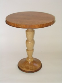 Caryatid table, curly maple, cherry & rosewood
