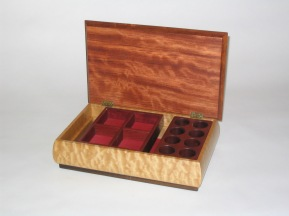 Jewelry box, quilted maple, bubinga, purpleheart & rosewood