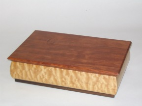 Jewlry box, quilted maple, bubinga, purpleheart & rosewood