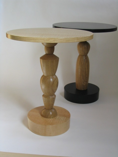Caryatid tables, white oak & curly maple, white oak & jade tree