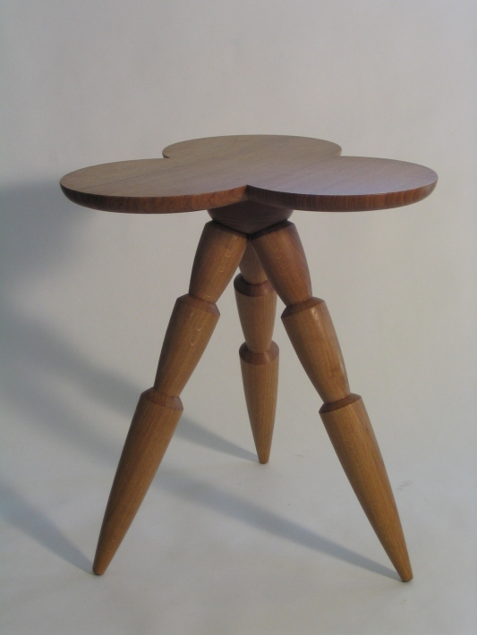 End table, burr oak