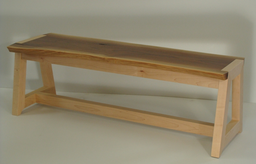 Bench, walnut & maple