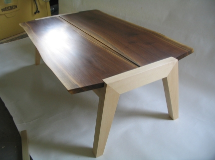 Coffee table, walnut & maple