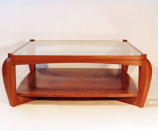 Coffee table, bubinga & glass